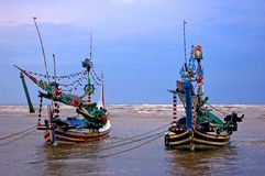 Traditional Asian fishing boats Royalty Free Stock Photography