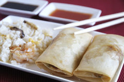Traditional Asian food. Asian food, crispy spring rolls royalty free stock photography