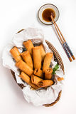 Traditional Asian Fried Spring Rolls with Dipping Sauce Stock Images