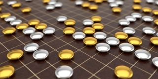 Traditional asian goban board and weiqi go game. luxury variant. 3d illustration Stock Photo