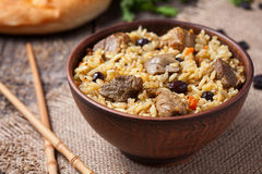 Traditional asian gourmet meal called pilaf cooked Royalty Free Stock Images