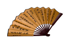 Traditional asian hand fan with hieroglyphes Royalty Free Stock Photos