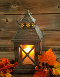Traditional Asian Lantern Glowing Brightly with autumn Decoratio Royalty Free Stock Images