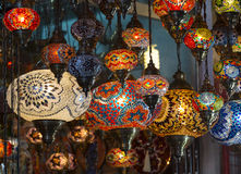 Traditional Asian lanterns. Of colored glass on the market Stock Photography