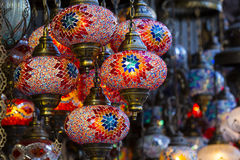 Traditional Asian lanterns. Of colored glass on the market Stock Photo