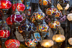 Traditional Asian lanterns. Of colored glass on the market Royalty Free Stock Photography