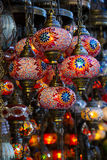 Traditional Asian lanterns. Of colored glass on the market Royalty Free Stock Image