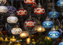 Traditional Asian lanterns. Of colored glass on the market Royalty Free Stock Images