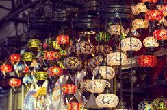 Traditional Asian lanterns. Of colored glass on the market Stock Photos