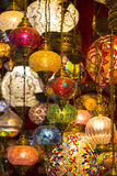 Traditional Asian lanterns. Of colored glass on the market Royalty Free Stock Photos
