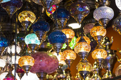 Traditional Asian lanterns of colored glass. On the market Stock Photo