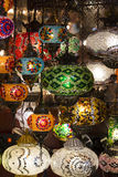 Traditional Asian lanterns of colored glass. On the market Royalty Free Stock Photos