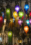 Traditional Asian lanterns of colored glass. On the market Royalty Free Stock Photography