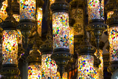 Traditional Asian lanterns of colored glass. On the market Stock Images