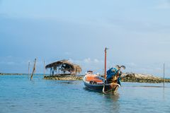 Traditional Asian long tail fishing boats moored at Bang Kao bea. Ch, Koh Samuui, Thailand Royalty Free Stock Image