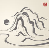 Traditional asian mointains. Abstract oriental illustration with mountains and the sun styled to traditional Chinese/Japanese art ink painting. Black silhouettes Stock Photo