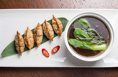 Traditional asian pan fried gyoza dumplings Stock Images