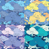 Traditional asian seamless vector patterns with clouds Stock Photo