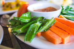 Traditional asian side dish of sambals  and raw vegetables. Traditional malay  side dish of cooked sambals and raw vegetables Royalty Free Stock Images
