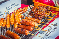 Traditional asian street food meat barbecue. Royalty Free Stock Images