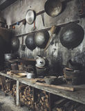 Traditional Asian style Kitchen interior with wok stove fire wood Royalty Free Stock Photography