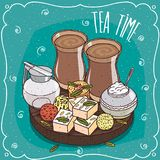 Traditional Asian sweets and masala chai tea Stock Photography