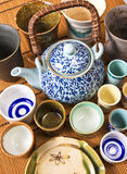 Traditional asian teapot and cup. Background Stock Photography