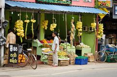 Traditional asian vegetables and fruits shop Stock Photo