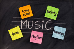 Traditional aspects (elements) of music. Traditional musicological or European-influenced  aspects of classical music (harmony, melody, form, rhythm and tone Stock Image