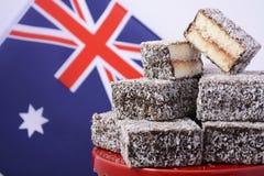 Traditional Australian Lamington Cakes Stock Photography