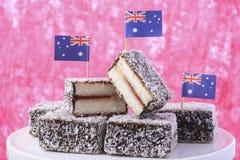 Traditional Australian Lamington Cakes Stock Image