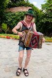 Traditional Austrian accordion player in Graz Royalty Free Stock Photo
