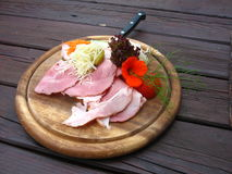 Traditional austrian ham plate Royalty Free Stock Photos