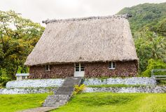 Traditional authentic fijian Bure, wood-and-straw thatched walls, roof hut. Levuka town, Ovalau island, Lomaiviti. Fiji, Oceania. royalty free stock photography