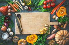 Autumn vegetables ingredients for tasty Thanksgining or Christmas dishes stock images