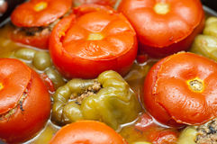 Traditional Azeri baked, stuffed peppers, aubergin. ''Badimjan Dolma''. Traditional Azeri baked, stuffed peppers, aubergine and tomatoes Stock Image