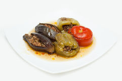 Traditional Azeri baked, stuffed peppers, aubergin Royalty Free Stock Photo