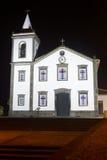Traditional azores church by night in Vila Nova, Terceira. Portu Stock Photography