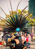 Traditional Aztec headdress. Multi feathered traditional Aztec headdress  in Mexico City Stock Photos