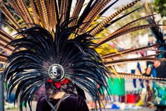 Traditional Aztec headdress. Multi feathered traditional Aztec headdress  in Mexico City Stock Photo