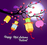 Traditional background for traditions of Chinese Mid Autumn Festival or Lantern Festival Stock Image