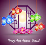 Traditional background for traditions of Chinese Mid Autumn Festival or Lantern Festival.  royalty free illustration