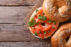 Traditional bagel with salmon and cream cheese top view horizont Royalty Free Stock Photo