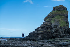 Traditional bagpiper in full dress code near Pennan Stock Photography