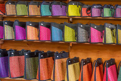 Traditional bags in souvenir shop Royalty Free Stock Image