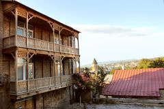 The traditional balconies in Old Tbilisi, Georgia Royalty Free Stock Photos