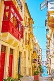 Traditional balconies in Senglea, Malta stock photo