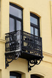 Traditional balcony and facade of historical Dutch house Royalty Free Stock Images