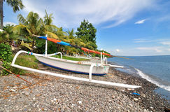 Traditional balinese boat on the beach Stock Images