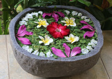 Traditional Balinese flower bowl Stock Images
